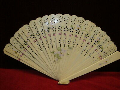 Vintage Celluloid Fan with Hand Painted Floral and Ribbon C. 1930-1940