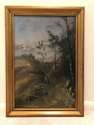 Antique Early 20th Century Nocturnal Night Landscape Oil Painting 19c