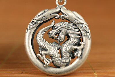 Solid silver S925 hand carved dragon statue pendant necklace netsuke gift
