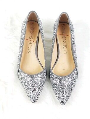35b0d30e99 SOLE SOCIETY womens size 7 Desi silver sparkly glitter pointed toe heels  pumps