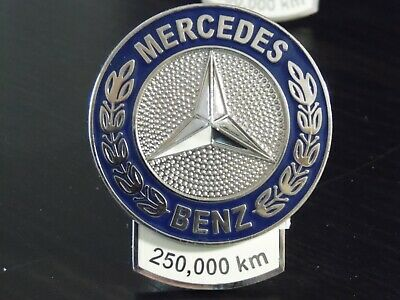 "Mercedes Benz 250,000 km Metal enameled Mileage Grille Badge Ornament 3""x2.5"""