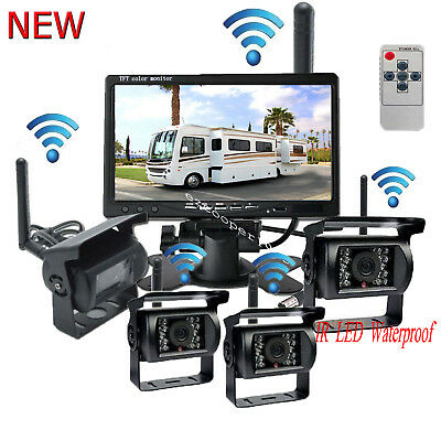 "4x Wireless IR Rear View Back up Camera System+7"" Monitor F Truck RV Car 12-24V"