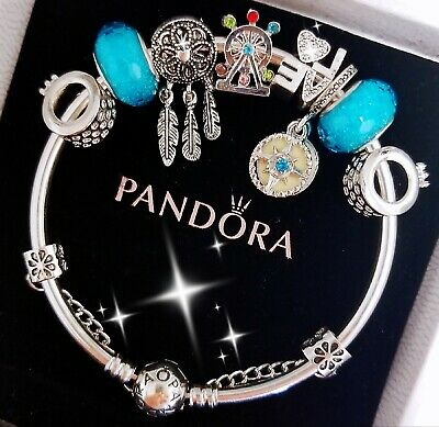 Authentic Pandora Bracelet Silver Bangle with Love Dream Catcher European Charms