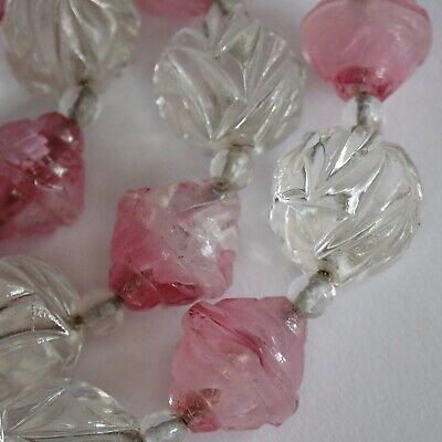 Vintage High Art Deco Marbled Pink & Carved Crystal Glass Bead Necklace