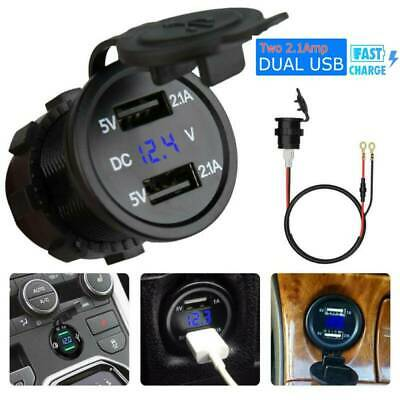 12V Dual USB Car Cigarette Lighter Socket Splitter Charger Power Adapter Outlet.