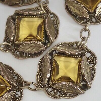 Antique Art Deco Brass Leaf Citrine Czech Glass Necklace
