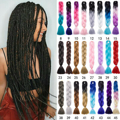 "24""Kanekalon Jumbo Braiding Hair Extensions Afro Twist Braids Ombre For Human t3"