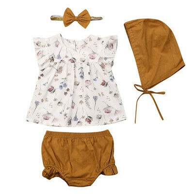 Cute Newborn Baby Girls Ruffle Sleeve Shorts Hat Headband Floral Outfit Clothes