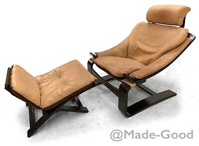 60s 70s Retro vintage SWEDISH KROKEN LEATHER ARM CHAIR & STOOL BY AKE FRIBYTTER