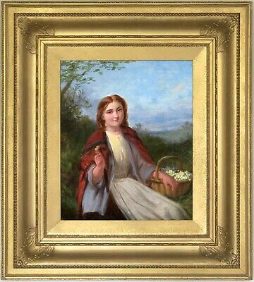 The Flower Girl Antique Genre Oil Painting by David Hardy (British, 1826–1911)