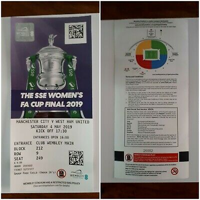 2019 Women's Fa Cup Final Manchester City v West Ham Utd 04/05/19 Used Ticket