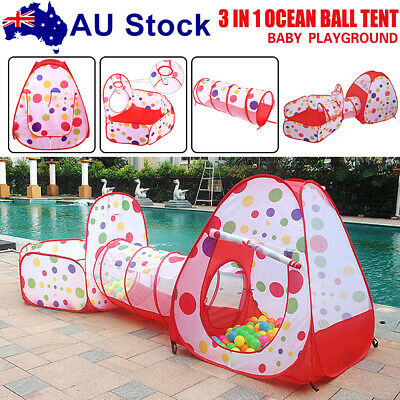 3in1 Kids Tent Crawling Toddlers Play House Baby Play Yard Tunnel Ball Pits Pool