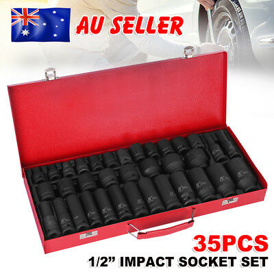"35pcs 1/2"" Drive Deep Impact Socket Set Metric Garage Workshop Tools 8-32MM YW"