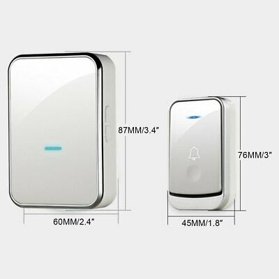 Smart Wireless Doorbell Battery Operated 2 US Plug in Receiver + 1 Transmitter