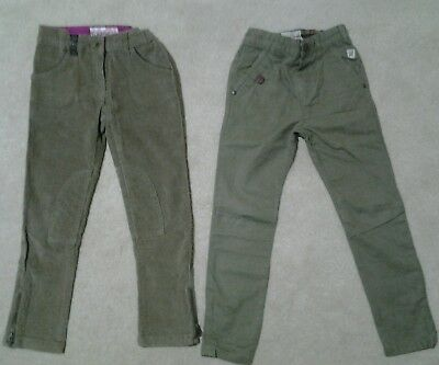 Girls NEXT Khaki green chinos & Cord jodhpur skinny jeggings 6yrs country