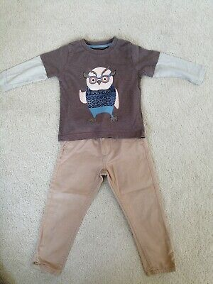 Boys chinos & owl top age 1-2 years Tu & Primark