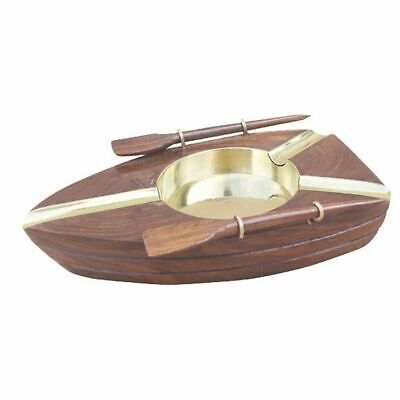 G4262: Maritime Ashtray, Rowing Boat Brass Wood
