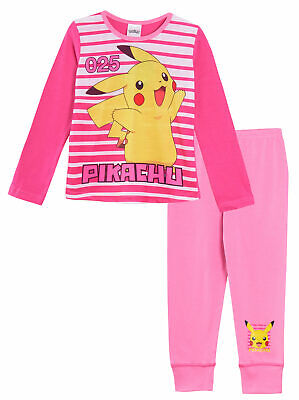 Girls Pokemon Long Pyjamas Kids Pikachu 2 Piece Pjs Nightwear Set Pink Size