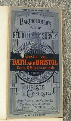 Vintage Bartholomew Map Of Bath & Bristol, Cloth Backed