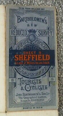 Vintage Bartholomew Map Of  Sheffield, Cloth Backed