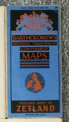 Vintage Bartholomew Map Of Zetland, Scotland, Cloth Backed