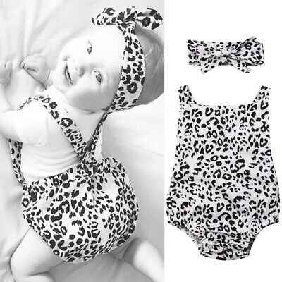 Newborn Baby Girl Clothes Leopard Print Headband Romper Bodysuit Outfit Sunsuit