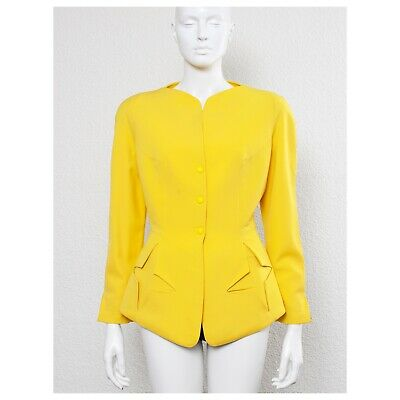 Rare vintage 1990s acid lemon sculptural THIERRY MUGLER star jacket