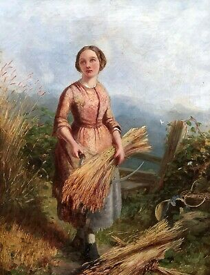 The Harvest Girl Antique Genre Oil Painting 19th Century English School