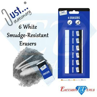 6 Quality White Soft Erasers Rubbers - Smudge-Resistant Stationery School Office