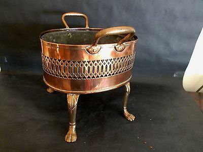 Mid Victorian Copper & Brass Twin Handled Oval Jardiniere w Original Liner c1860