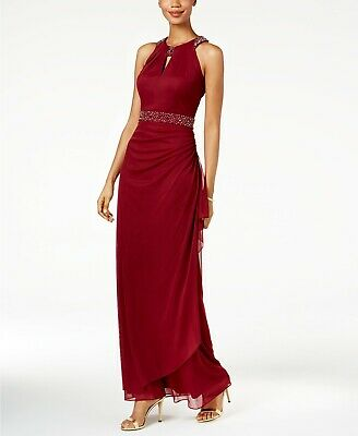 New $350 Betsy & Adam Womens Red Bead Embellished Halter Gown Dress Size 6