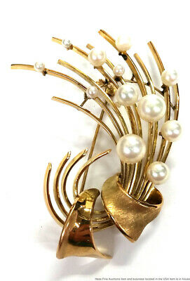 Vintage Mid Century 14K Yellow Gold Cultured Pearl Retro Large Pin Brooch