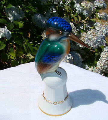 Rare Antique c 1918 -1930 Behscherzer Porcelain Kingfisher Bird Statue Figurine