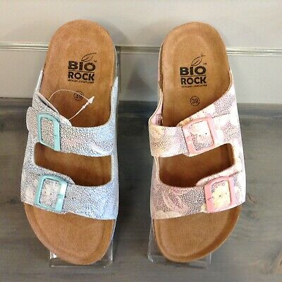 BIO ROCK TWIN STRAP BUCKLE  MULE SUMMER HOLIDAY SOFT COMFORTABLE BLUE PINK NEW