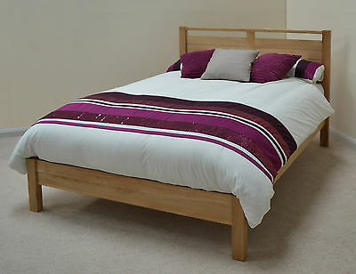 "Stratton Solid Oak Modern Designer 4ft 6"" Double Bed Low Footend"