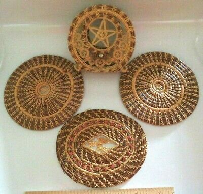 Set Of Native American Coushatta Basket Woven Pine Needle Trivets, Napkin Holder