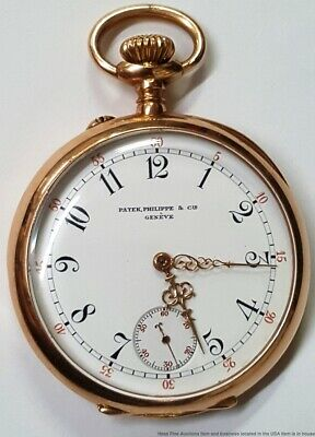Genuine Patek Philippe Triple Signed Rose Gold Pocket Watch Antique