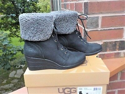42f59d67331 NIB UGG ZEA Waterproof Leather Shearling Wedge Lace-Up Boots WOMEN'S SIZE 9