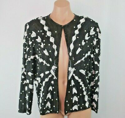 Vtg 80s SWEE LO Silk Sz M Evening Embellished Sequin Beaded Jacket Trophy Wife