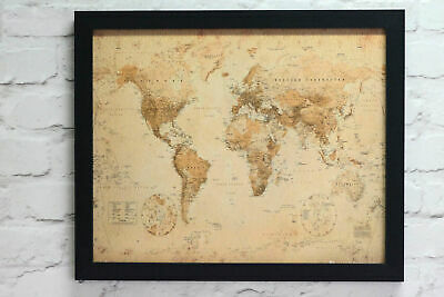 Framed World Map Antique Style Poster Choice Of Frame Colours