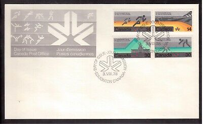 CANADA 1978 FIRST DAY COVER # 759/62, 11th COMMONWEALTH GAMES !!