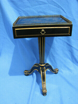 Vintage Drexel Heritage Black Gold Lacquer Side End Table Chinoiserie Mini