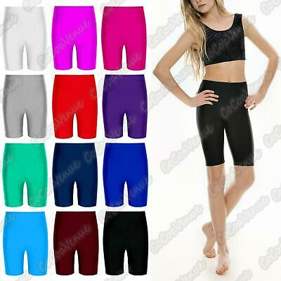 New Kids Girls Nylon Lycra Dance Sports Gym Shorts School Game PE Cycling Shorts