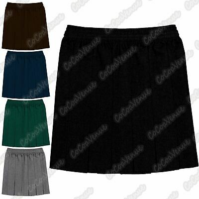 New Girls Plain Box Pleated All Round Elasticated Skirt School Uniform Dress