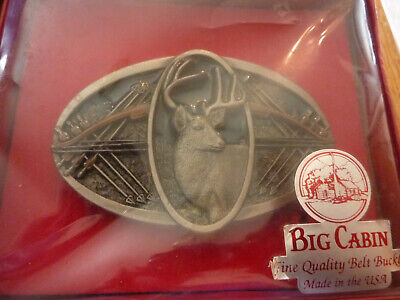 Vintage Nos Nib Usa Big Cabin Pewter Deer / Archery Belt Buckle