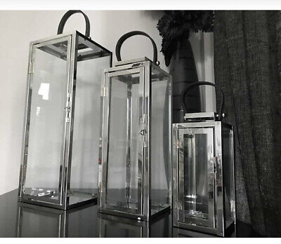 Lanterns Glass Metal Chrome Silver Candle Holders Indoor Outdoor High Quality