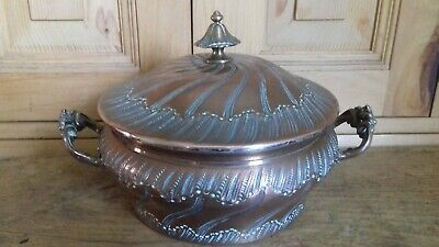 """Rare Gorgeous Antique French 7"""" Sauce Bowl or Tureen Bimetal Copper Silver Lined"""