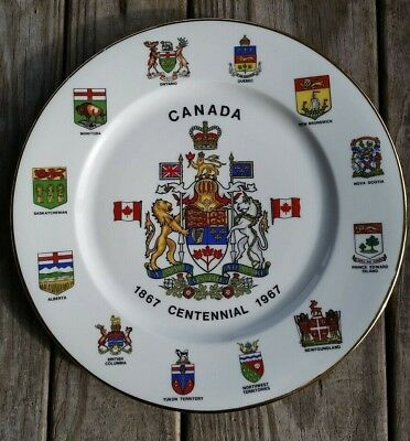 "Canada Centennial 1867 - 1967 10 1/2""  Plate Provincial Shields Western Germany"