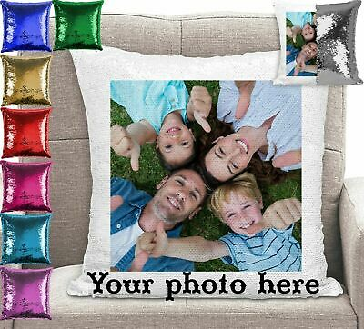 Personalised Customised Your Photo Magic Sequin Mermaid Cushion Cover Pillow