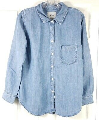 dc2af0a9 RAILS womens size M chambray linen blend button down long sleeved blouse top